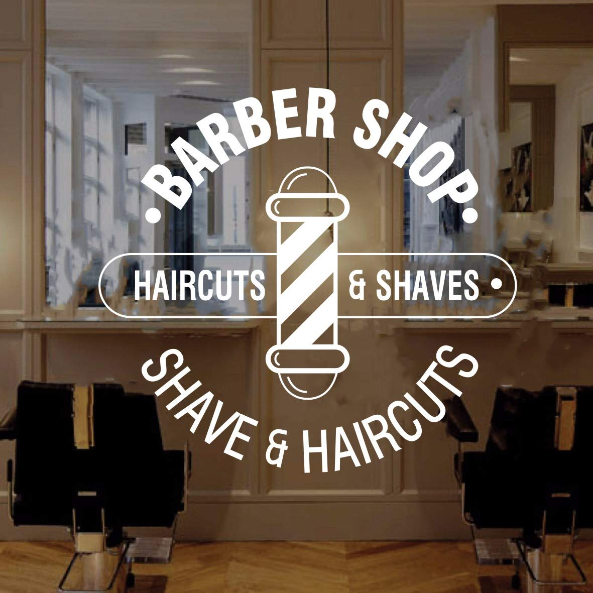 Wall Decal Barber Shop Window Sticker Barber Shop Logo Shave And Haircut Beauty Salon Wall Window Decor Sticker Art Vinyl Murals Ly40 White 22x22inch 57x57cm Home Improvement