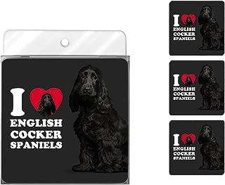 Tree-Free Greetings NC39046 I Heart English Cocker Spaniels 4-Pack Artful Coaster Set, Black
