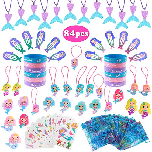 Mermaid Party Favors Supplies, 84Pcs Mermaid Tail Necklace Bracelet Ring Hair Clip Hair Tie Sticker Gift Bag Mermaid Gifts Accessories Set Birthday Party Favors for -Kids Girls