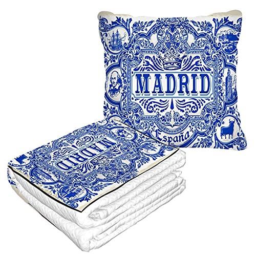 Azulejo Muster Reisedecke und Kissen 2 in 1 Premium Soft Flanell Kompakt Pack Große Decke für Reisen Madrid Symbol Blaue Fliesen Keramik Textur