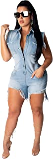 ECHOINE Women's Denim Jumpsuit Rompers Lapel Button Pockets Bodycon Shorts Sexy Nightclub Party