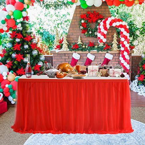 Tüll-Tischrock, 2,7 m, Rot, hochwertig, goldfarbene Krempe, 3-lagig, runde oder rechteckige Tische, Netzstoff, flauschig und elegant für Babypartys, Geburtstagspartys, Partys, Hochzeitsdekoration.