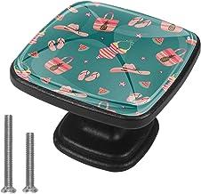 4 Packs Kabinet Deurknoppen met schroeven,Vierkante lade handvat voor kast lade kast kast meubels zomer groen