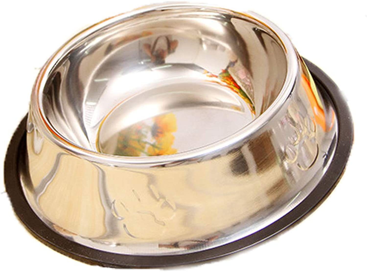 Cat Bowl Stainless Steel Cat Bowl Pet Stainless Steel Bowl Rubber Base Suitable for Small and Medium Dogs Pet Feeding Bowl and Water Bowl Perfect Choice,XS