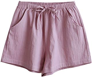 Fashionable Summer Solid Color Ladies Drawstring High Waist Loose Cotton Linen Shorts