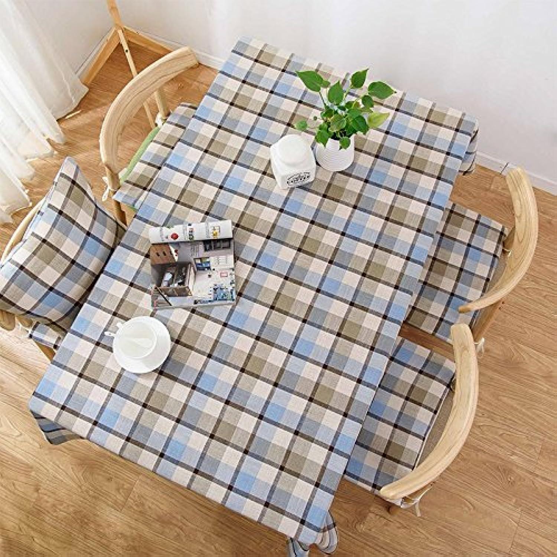 130180cm Bleu gris Checker scandinave minimaliste Instagram Nappe en coton et lin à hommeger Jardin pique-nique rectangulaire voitureré respectueux de l'environneHommest couvrant