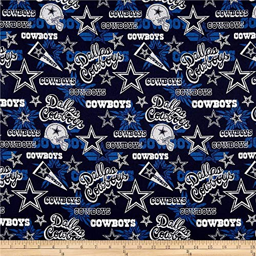 Traditions NFL Cotton Broadcloth Dallas Cowboys Retro Blue, Fabric by the Yard