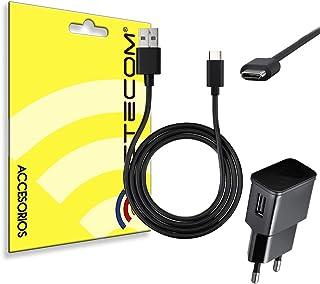 actecom® Cargador 2A + Cable USB 3.1 Tipo C USB Negro Compatible para Samsung S8 S8 Edge +