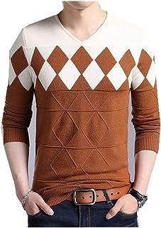 xtsrkbg Mens Casual V Neck Slim Fit Solid Pullover Sweaters Knitwear