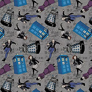 Doctor Who Fabric Character Toss Fabric by the yard