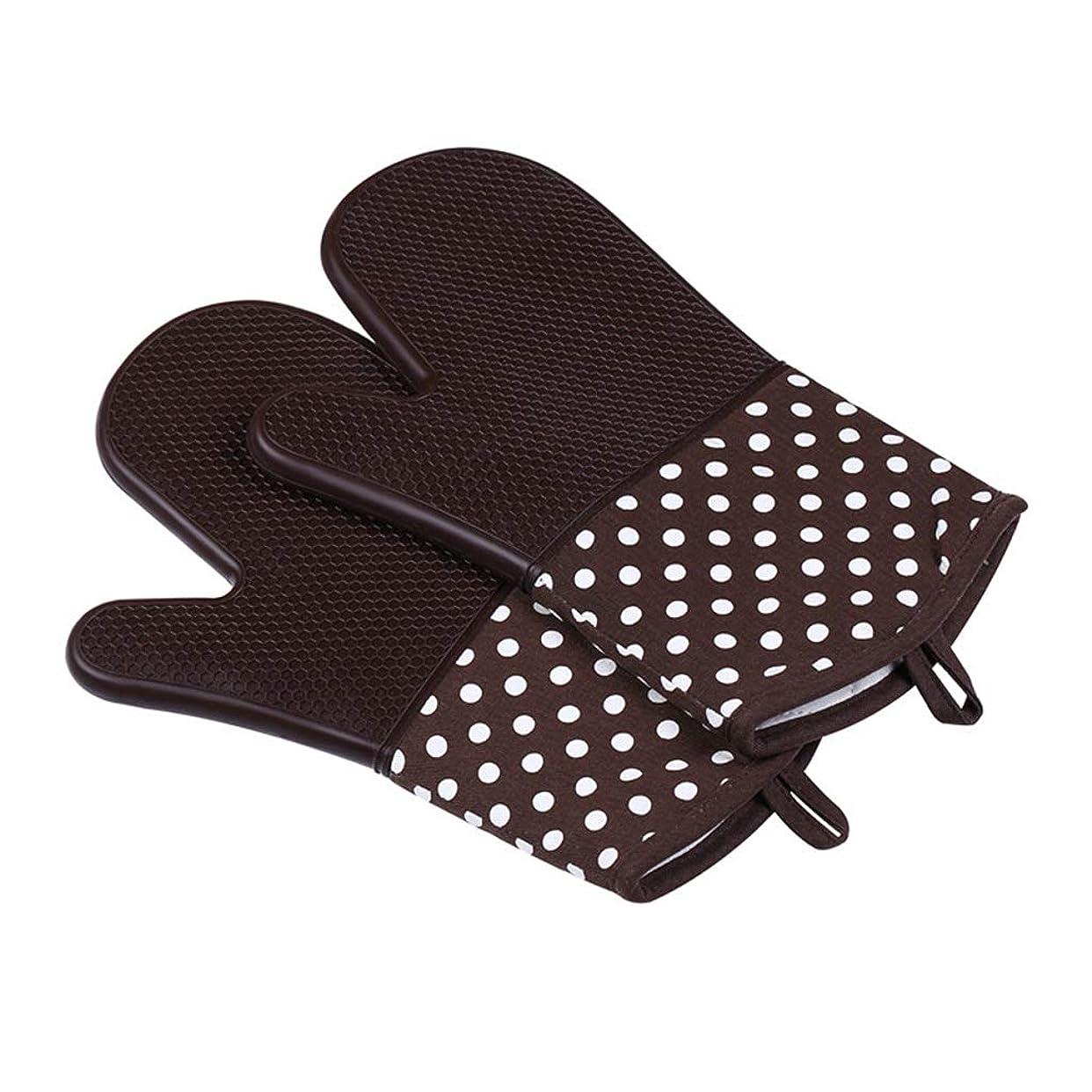 SGLI オーブン断熱ベーキンググローブ、工業用高温300度電子レンジグローブ、シリコングローブ6色オプション 手套 (Color : Brown)
