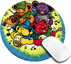 Tie-Dye Music Bears Round Mouse Pads Computers Laptop Mousepad Non-Slip Rubber Gaming Mouse Pad for Office and Home