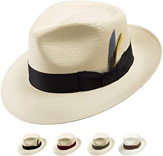5d014928c494 Ultrafino Bogart Adventurer Classic Straw Panama Hat Exotic Feather