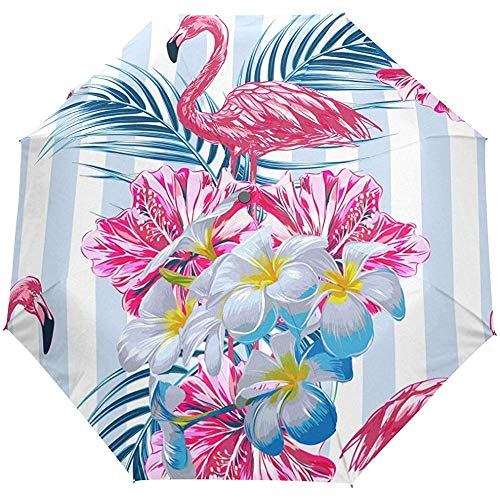 Vintage Summer Tropical Flamingo Striped Auto Open Close Paraguas Anti UV Plegable Compacto Automático Paraguas