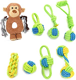 Dog Rope Toy - Puppy Chew Teething Toys - Mokey Dog Toy - 100% Nature Cotton Ball Toy - 8 Pack Rope chew Toys for Small and Medium Dog - Interactive Play Toy for toss and tug Play