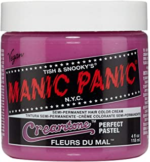Manic Panic Fleurs Du Mal Creamtone Perfect Pastel Pink Hair Dye - Semi-Permanent Pink Pastel Hair Dye Color is Vegan, PPD & Ammonia Free