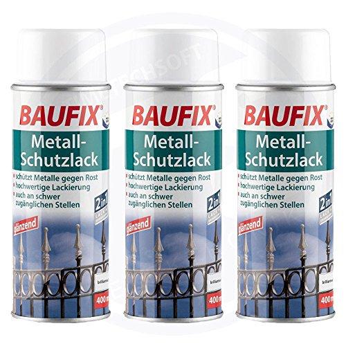 Baufix Lot de 3 flacons de vernis de protection en métal Blanc 400 ml