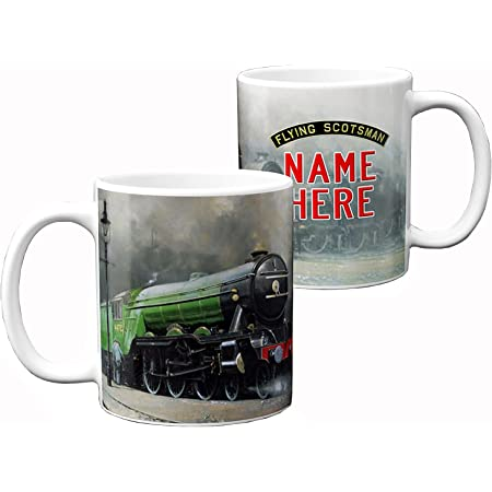 Flying Scotsman Mug Steam Train Cup 11oz Ceramic White Personalised Gift FST01
