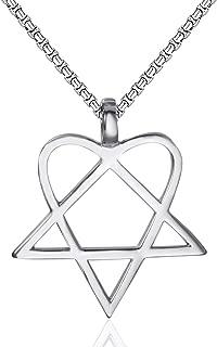 Elfasio Mens Womens Stainless Steel Pendant Necklace Heartagram Star Heart Him Chain Vintage Jewelry