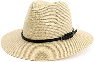 Hats and Caps Fashion Hats Summer Fedora Vintage Wide Brim Straw Jazz Hat with Leather Belt Pink Church Hats for Men Women Casual Sun Beach Cap (Color : Beige, Size : 56-58CM)