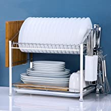 Kitchen Storage Rack - 304 Stainless Steel Dish Rack Double - with Drain Tray for Kitchen, Storage