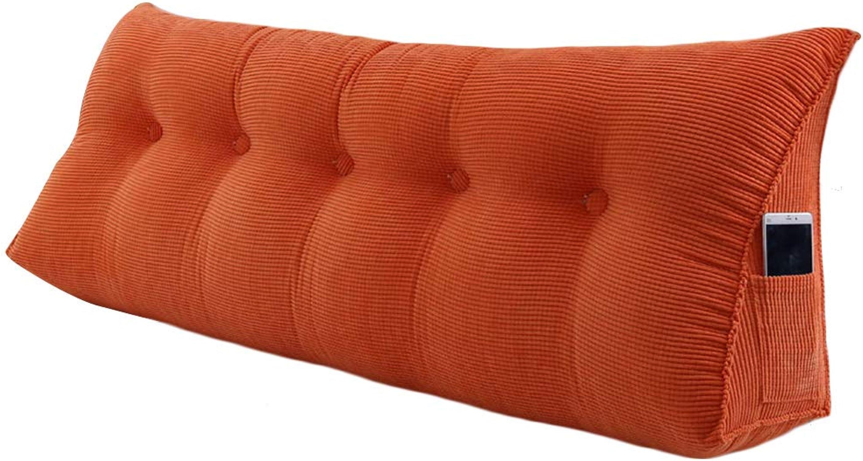 HAIPENG Coussin De Chevet Triangulaire Lit Dossier Lombaire Double Oreiller Tapissé Pads Canapé Lavable, 5 Couleurs, 7 Tailles (Couleur   Orange, Taille   100x23x50cm)