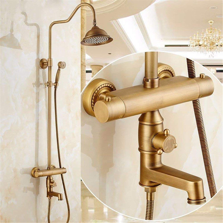 Duscharmaturen, antike Thermostat ein, Dusche, alle Kupfer intelligenten europischen Armaturen, Badezimmer Dusche dusche Düse, retro Dusche
