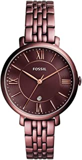 Fossil Women's ES4100 Jacqueline Three-Hand Date Wine Stainless Steel Watch
