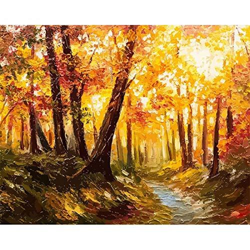 JHGJHK Arte Paisaje Pintura al óleo Plantas forestales Flor Pintura de Paisaje Sala de Estar Dormitorio Decoración Pintura (Imagen 4)