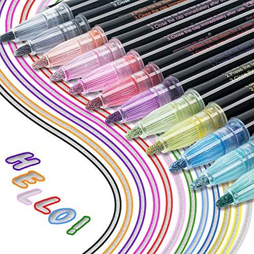 Los bolígrafos de Contorno más nuevos, 12 Colores, bolígrafos de Contorno de Doble línea, Tarjeta de Regalo, bolígrafos de Dibujo para felicitaciones de cumpleaños, Escribir en Cuadernos