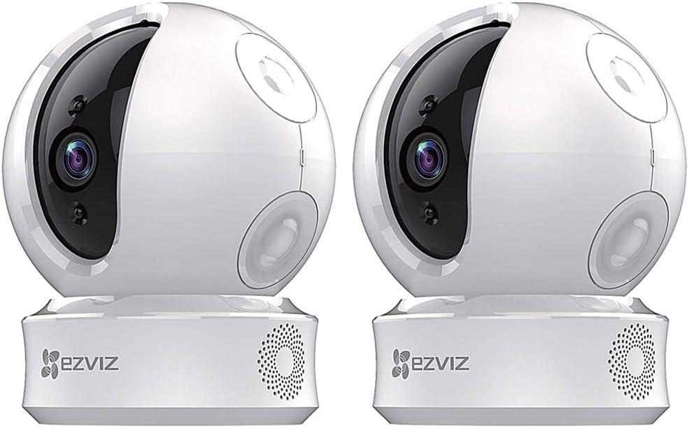 EZVIZ EZ2463B1WH C6C 720p Indoor Pan/Tilt WiFi Security Camera 360 Degree Full Room Coverage 2 Pack