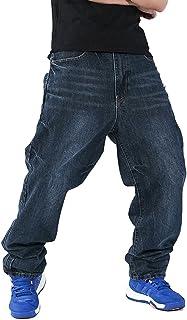 QIBOE Men's Fashion Hip Hop Baggy Jeans Denim