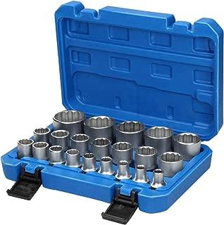 ECD Germany Juego de 12 Vasos para Llave en Acero al Cromo vanadio Vasos hexagonales y Cuadrados para el tap/ón de Drenaje del Aceite