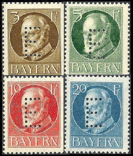 Goldhahn Bayern Dienst Nr. 12-15 postfrisch Friedensdrucke mit eingelochtem E Briefmarken für Sammler