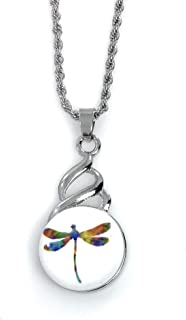 Dragonfly Snap Charm Pendant for Standard Snaps 20mm Stainless Steel Chain