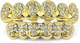 Best 18K Plated Gold Grills Teeth Grillz for Men Women Iced Out Hip Hop Poker Diamond Top & Bottom Face Grills for Teeth Rapper Costume Cosplay Reviews