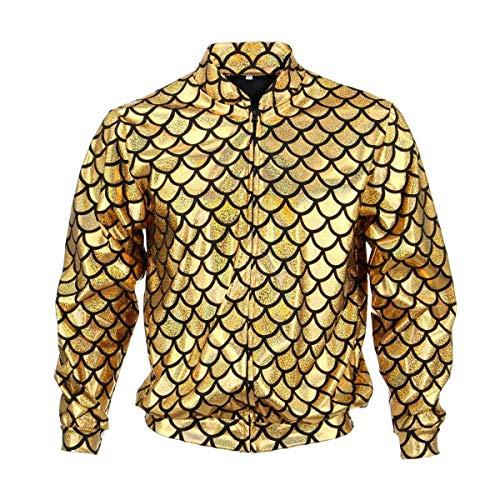 BFD Bomberjacke für Herren und Damen, metallisch, glänzend, leicht, schmale Passform, Silberfarben/Goldfarben Gr. XL, Gold Scale