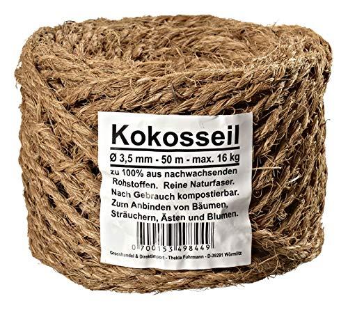 Humusziegel - Kokosseil 3.5 mm - Baumanbinder aus Kokosfaser - ungefärbte Naturfaser - 50 m