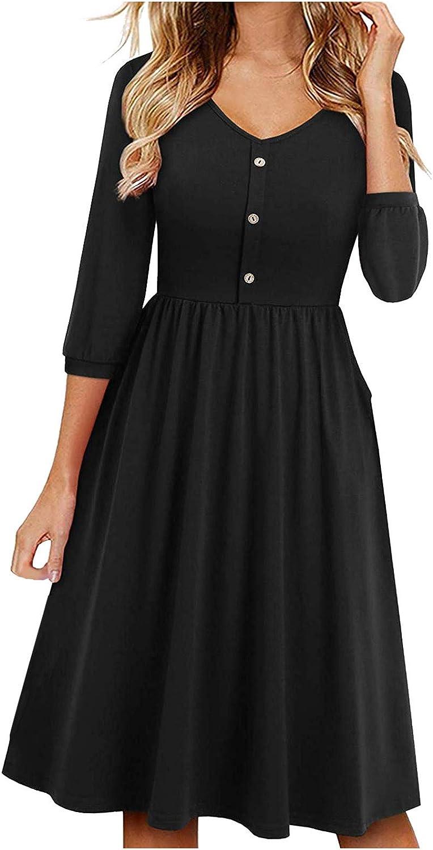 Women's Casual Loose Long Dress Long Sleeve Split Dresses Three-Quarter Sleeve Long Skirt Pocket Dress