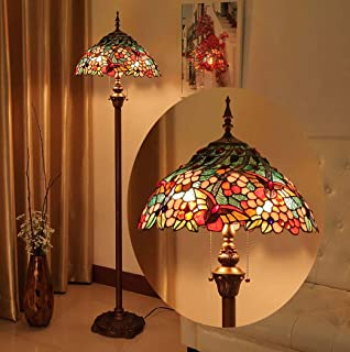 16-Inch Vintage Tiffany Style Floor Lamp Antique Stained Glass Floor Uplighter for Living Room Bedroom Study Room Decor Standing Light with Zipper + Foot Switch,110-240V,E27