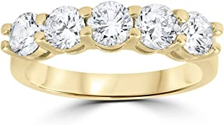 2 ct Diamond Five Stone Wedding Anniversary Round Cut Ring 14k Yellow Gold