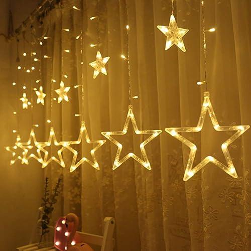 613c352b9186 Twinkle Star 12 Stars 138 LED Curtain String Lights, Window Curtain Lights  with 8 Flashing