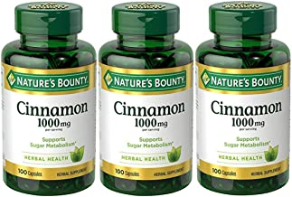 Nature's Bounty Cinnamon Pills and Herbal Health Supplement, Promotes Sugar Metabolism and Heart Health, 1000mg, 100 Capsules, (Pack of 3)