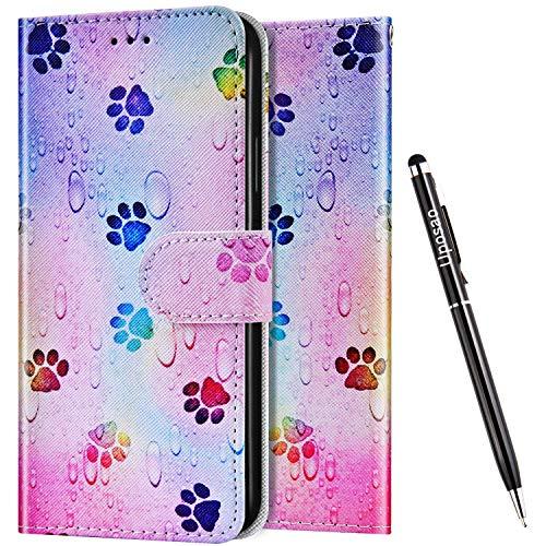 Uposao Kompatibel mit Samsung Galaxy J4 Core Hülle Wallet Handyhülle Bunt Retro Muster Lederhülle Schutzhülle Brieftasche Klapphülle Flip Hülle Magnet Ständer Kartenfächer,Fußabdruck