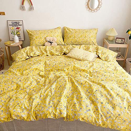 CLOTHKNOW Gelbe Bettwäsche mit Blumenmuster, Queen-Size-Bett, Baumwolle, botanische Blumen, Bettdecke, Set für Mädchen und Frauen, Tröster, Löwenzahn-Muster, 3-teiliges Set