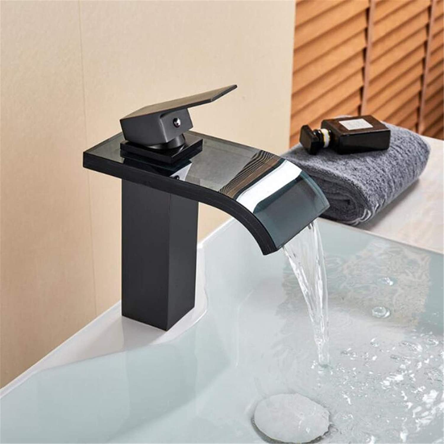 Faucet Washbasin Mixer Bathroom Waterfall Basin Sink Faucet Black Bronze Single Hole Vessel Sink Mixer Tap Glass Spout Vanity Sink Faucet