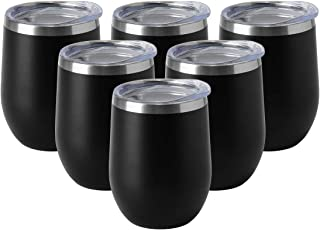 HASLE OUTFITTERS 12oz Wine Tumbler with Lid Stemless Wine Glasses Double Wall Vacuum Travel Mugs Stainless Steel Coffee Cup for Cold & Hot Drinks Wine Coffee Cocktails Beer 6 Pack Black