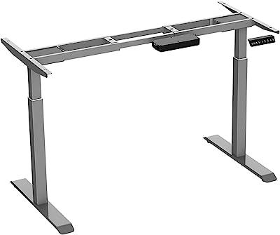 AIMEZO Stehend Schreibtisch Rahmen Nur-Dual-Motor Elektrische Einstellbare Höhe Sitzen Standplatz 2 Bühne Extended Range Rahmen (Grau)