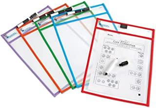 Learning Resources Write and Wipe Pockets, 5 Colorful Classroom Dry Erase Pockets, Ages 3+