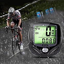GHB bike computer wireless speedometer waterproof odometer with LCD display multifunctional (black)